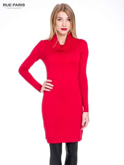 Czerwona swetrowa sukienka z golfem                                  zdj.                                  1