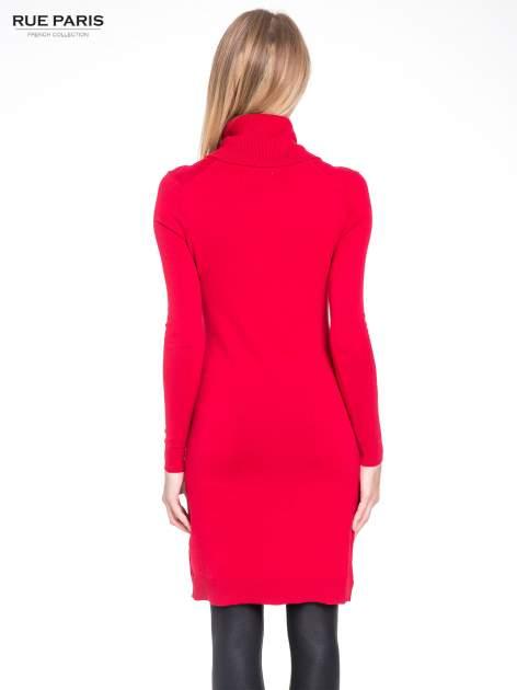 Czerwona swetrowa sukienka z golfem                                  zdj.                                  4