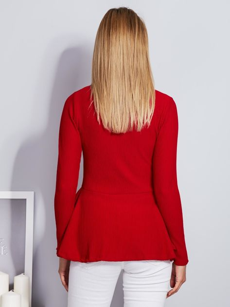 Czerwona sznurowana bluzka z baskinką                                  zdj.                                  2