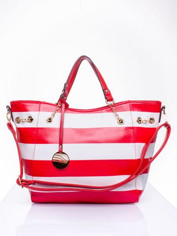 Czerwona torba shopper bag w pasy efekt saffiano                                  zdj.                                  2