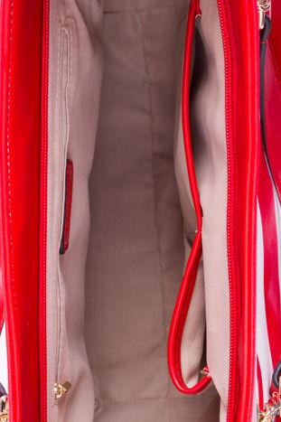 Czerwona torba shopper bag w pasy efekt saffiano                                  zdj.                                  5