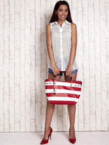 Czerwona torba shopper bag w pasy efekt saffiano                                  zdj.                                  7
