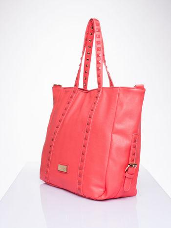 Czerwona torba shopper bag z kolorowymi ćwiekami                                  zdj.                                  3