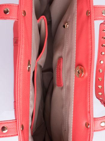 Czerwona torba shopper bag z kolorowymi ćwiekami                                  zdj.                                  4