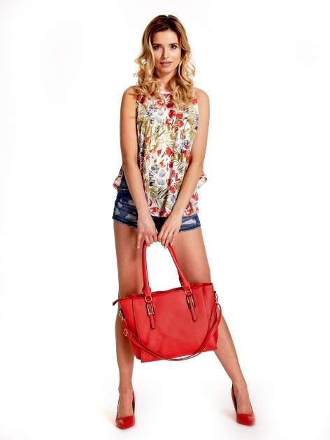 Czerwona torba shopper bag z odpinanym paskiem                                  zdj.                                  3