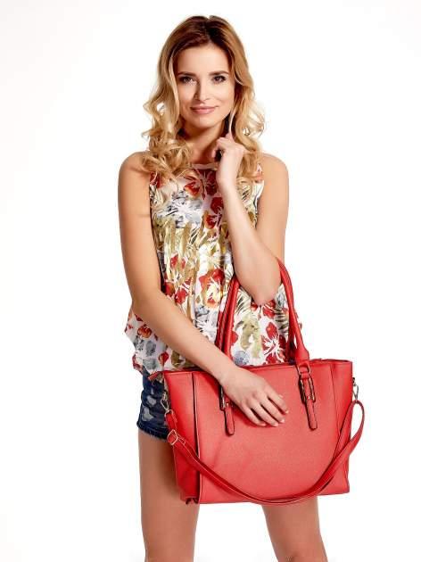 Czerwona torba shopper bag z odpinanym paskiem                                  zdj.                                  1
