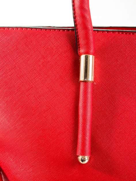 Czerwona torba shopper efekt saffiano                                  zdj.                                  6