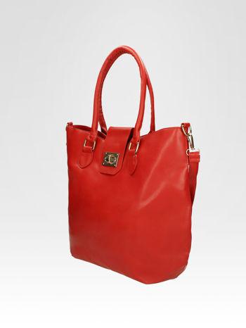 Czerwona torebka city bag z zatrzaskiem                                  zdj.                                  8