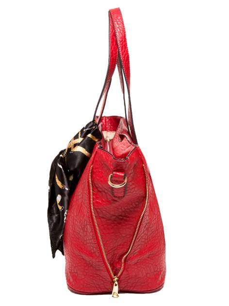 Czerwona torebka shopper bag z apaszką                                  zdj.                                  5