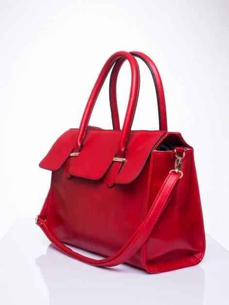 Czerwona torebka teczka z klapką                                  zdj.                                  3