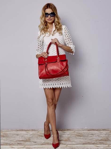 Czerwona torebka teczka z klapką                                  zdj.                                  6