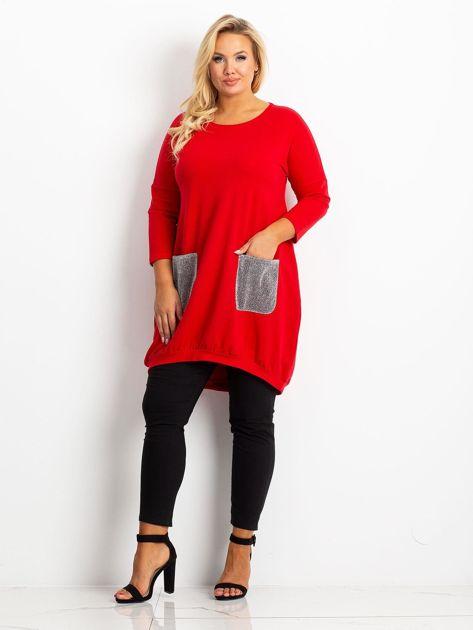Czerwona tunika plus size Amber                              zdj.                              4