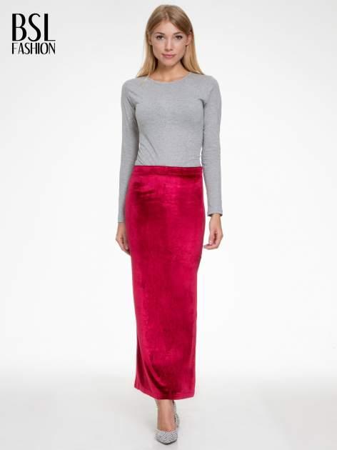 Czerwona zamszowa spódnica maxi z rozporkiem                                  zdj.                                  5