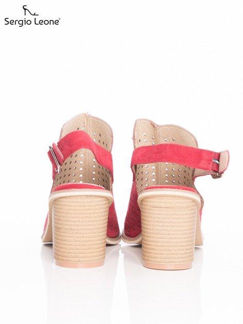 Czerwone ażurowe sandały Sergio Leone na szerokim klocku                              zdj.                              3