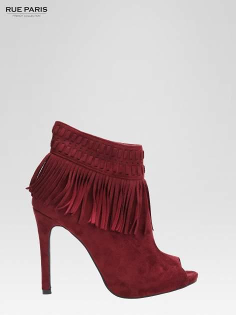 Czerwone botki faux suede Suzie open toe z frędzlami w stylu boho