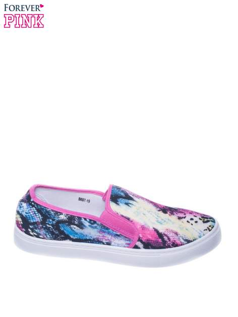 Czerwone buty slip on we wzór animal print                                  zdj.                                  1
