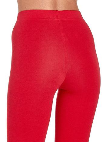 Czerwone gładkie legginsy damskie basic                                  zdj.                                  7