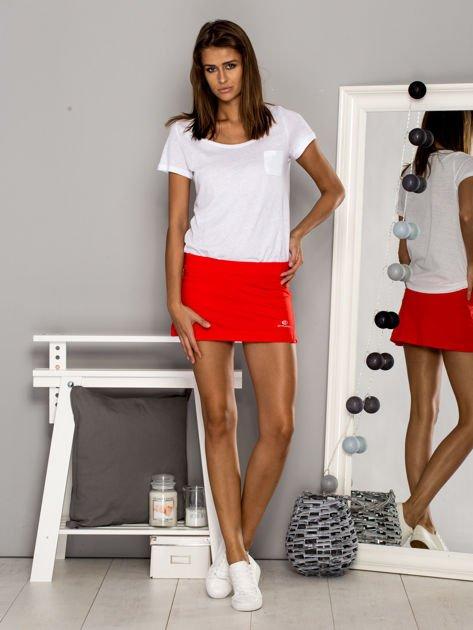 Czerwone gładkie spodenki spódniczka tenisowa                                   zdj.                                  4