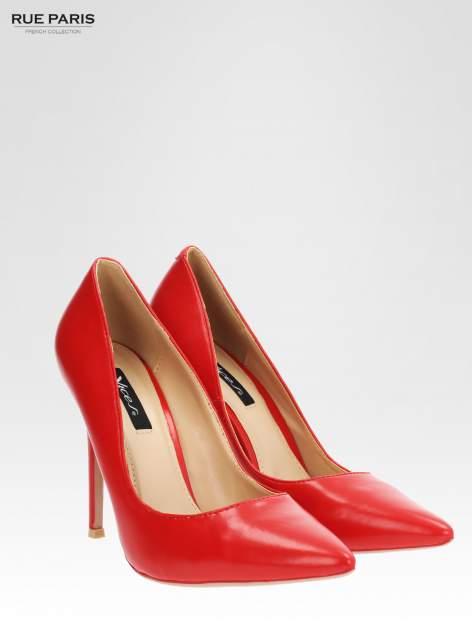 Czerwone klasyczne szpilki ze smukłym noskiem                                  zdj.                                  2