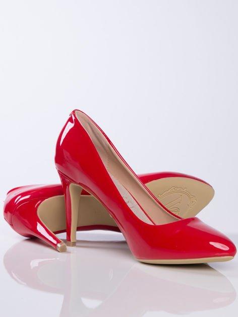 Czerwone lakierowane czółenka z migdałowy noskiem                              zdj.                              4
