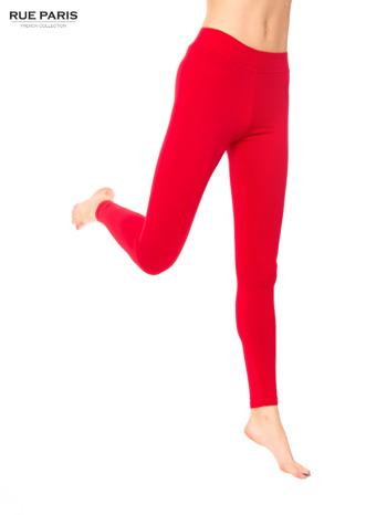 Czerwone legginsy bawełniane z gumką w pasie