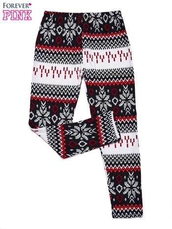 Czerwone legginsy dziewczęce w norweskie wzorki
