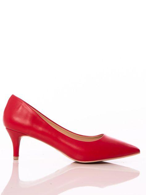 Czerwone półmatowe szpilki z noskiem w szpic                              zdj.                              1