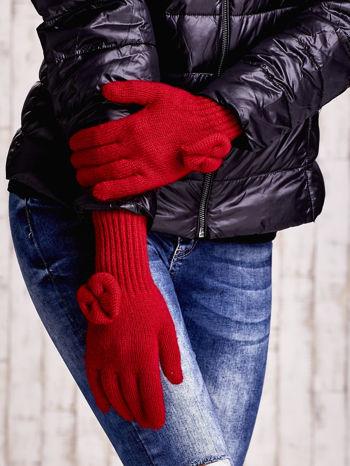 Czerwone rękawiczki z kokardką i długim ściągaczem                                  zdj.                                  3