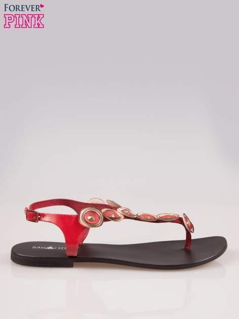 Czerwone skórzane sandały typu japonki w stylu etno                                  zdj.                                  1
