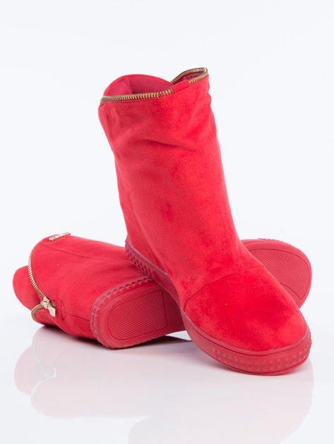 Czerwone sneakersy z ozdobnym suwakiem dookoła cholewki                              zdj.                              4