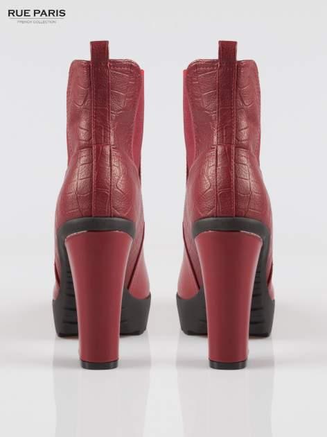 Czerwone wysokie botki na słupku i platformie                                   zdj.                                  3