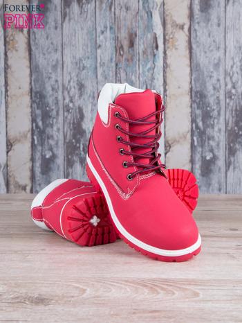 Czerwono-białe buty trekkingowe damskie traperki ocieplane                                   zdj.                                  3