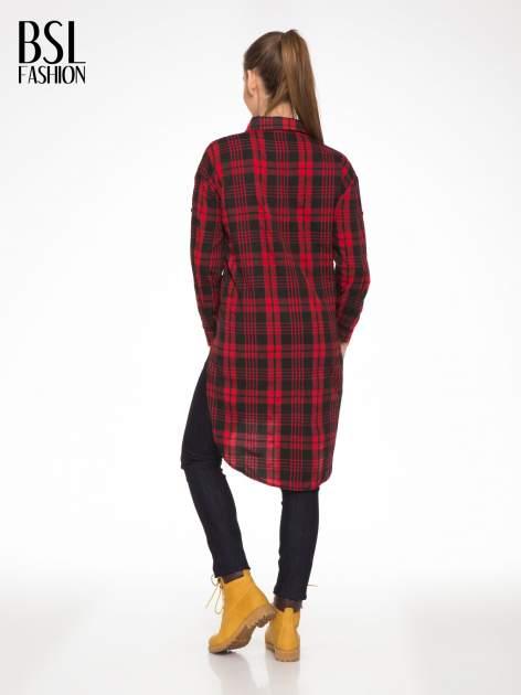 Czerwono-czarna długa koszula w kratę z kieszeniami                                  zdj.                                  4