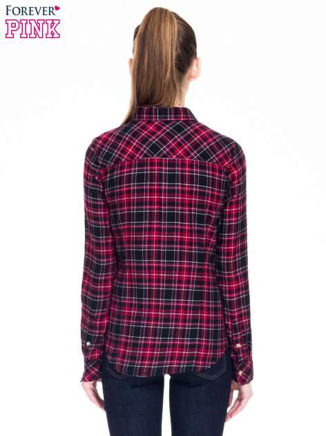 Czerwono-czarna koszula w kratę z kieszonkami                                  zdj.                                  5