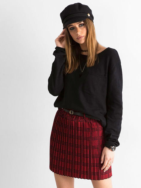 Czerwono-czarna plisowana spódnica we wzory                              zdj.                              1