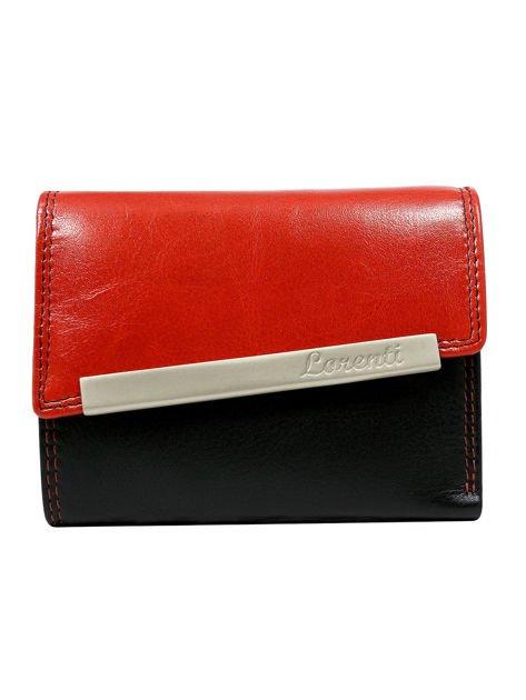 Czerwono-czarny skórzany portfel damski z asymetryczną klapką
