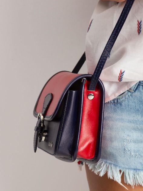Czerwono-granatowa damska torebka                              zdj.                              3
