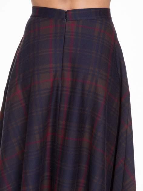 Czerwono-granatowa kraciasta spódnica midi szyta z półkola                                  zdj.                                  5