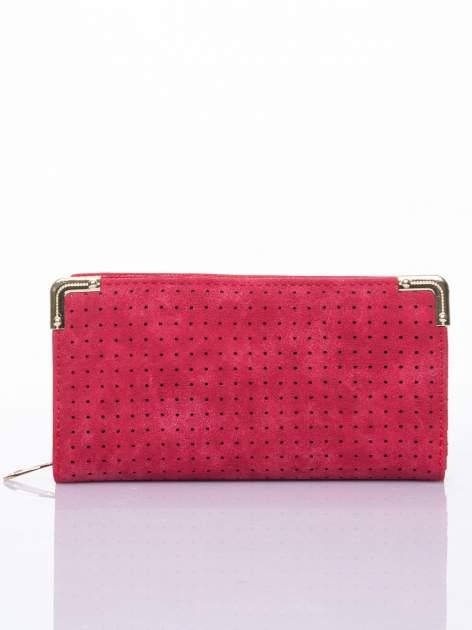Czerwony ażurowany portfel ze złotymi okuciami                                  zdj.                                  1