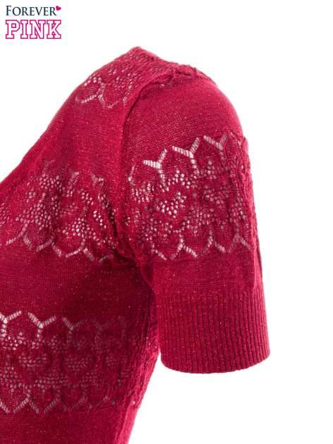 Czerwony ażurowy sweterek w stylu retro                                  zdj.                                  6