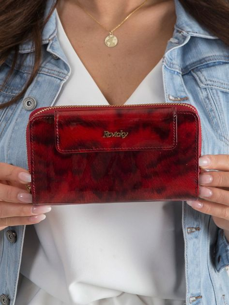 Czerwony damski portfel z motywem zwierzęcym