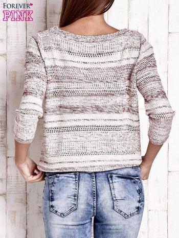 Czerwony dziergany sweter z rękawem 3/4                                  zdj.                                  4