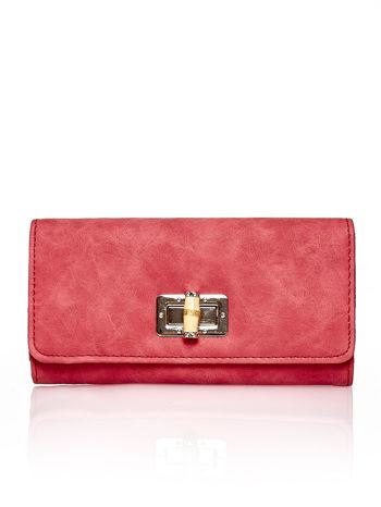 Czerwony fakturowany portfel ze stylizowanym zapięciem                                   zdj.                                  1