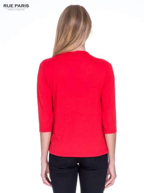 Czerwony klasyczny sweterek z luźnym rękawkiem 3/4                                  zdj.                                  4
