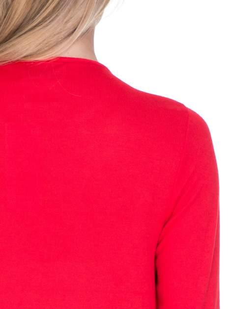 Czerwony klasyczny sweterek z luźnym rękawkiem 3/4                                  zdj.                                  5