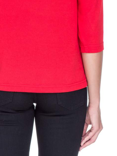 Czerwony klasyczny sweterek z luźnym rękawkiem 3/4                                  zdj.                                  6