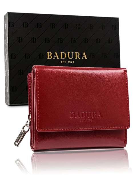 Czerwony mały portfel męski skórzany BADURA