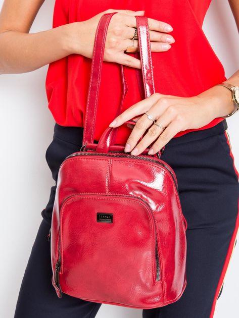Czerwony plecak damski ze skóry ekologicznej                              zdj.                              5