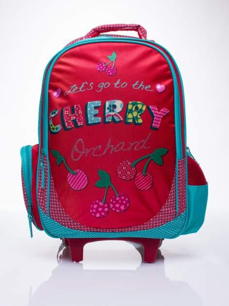 Czerwony plecak szkolny na kółkach walizka DISNEY w wisienki                                  zdj.                                  1