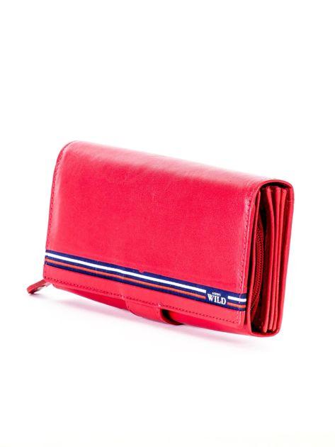 Czerwony podłużny skórzany portfel z klapką                              zdj.                              3